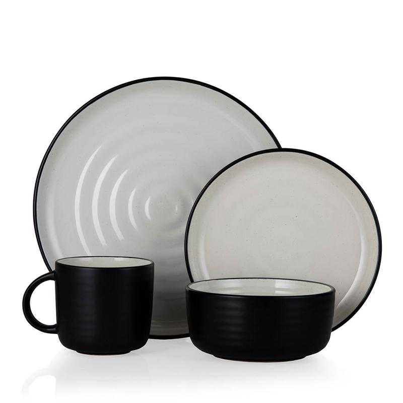 Cascade 16 Piece Dinnerware Set Black