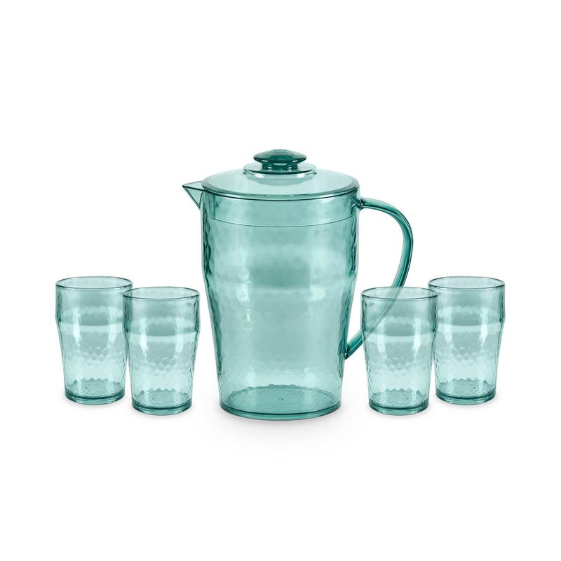 Fresco Reusable Plastic Pitcher and Tumbler Set Turquoise