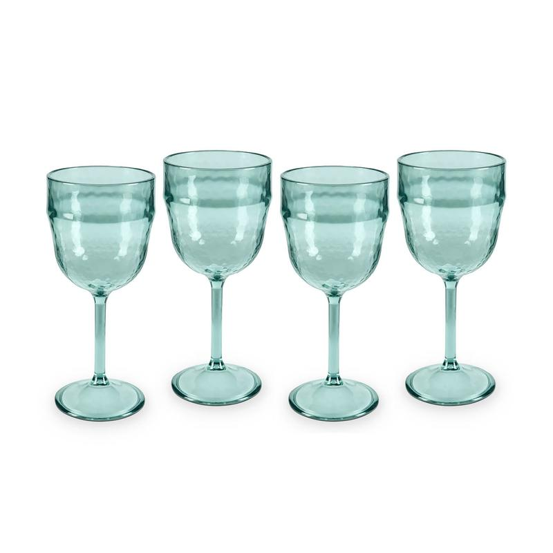 Fresco Reusable Plastic Wine Glasses Turquoise