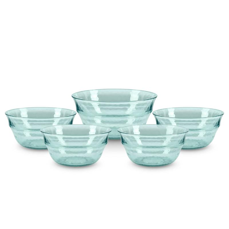 Fresco Reusable Plastic Serving Bowl Set Turquoise