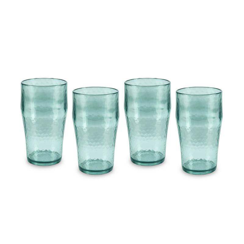 Fresco Reusable Plastic Beer Glass Set of 4 Turquoise