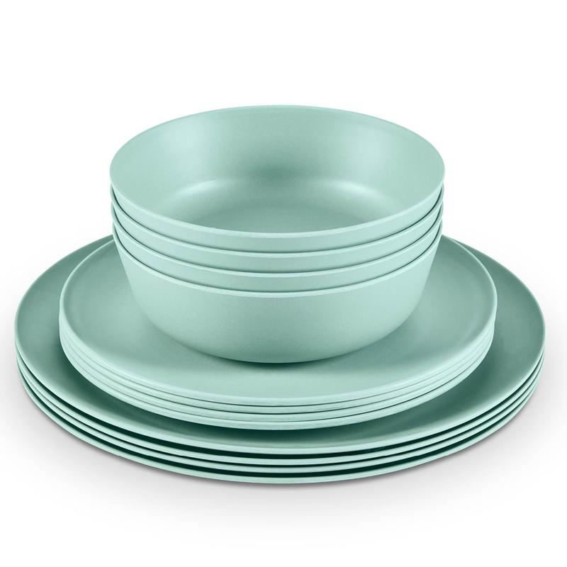 Fresco Bamboo Fibre 12 Piece Dinner Set Green