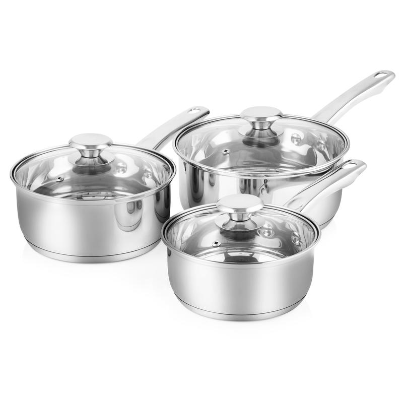 3 Piece Saucepan Set 16/18/20cm S/Steel
