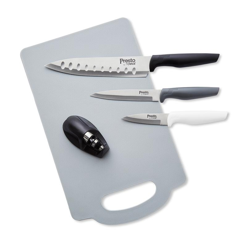 Presto by Tower 3 Piece Knife Set with Chopping Board and Sharpener