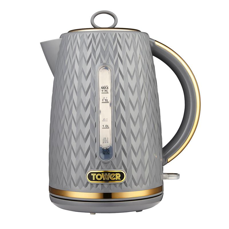 Empire 3KW 1.7L Kettle Grey with Brass Accents
