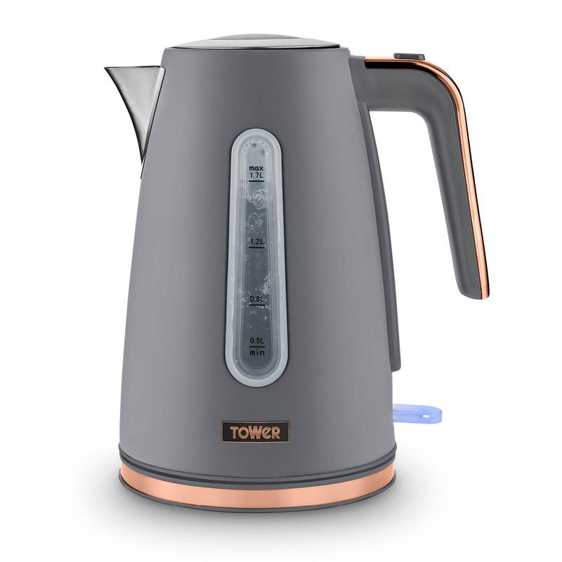 Cavaletto 1.7L 3KW Jug Kettle Grey with Rose Gold Accents