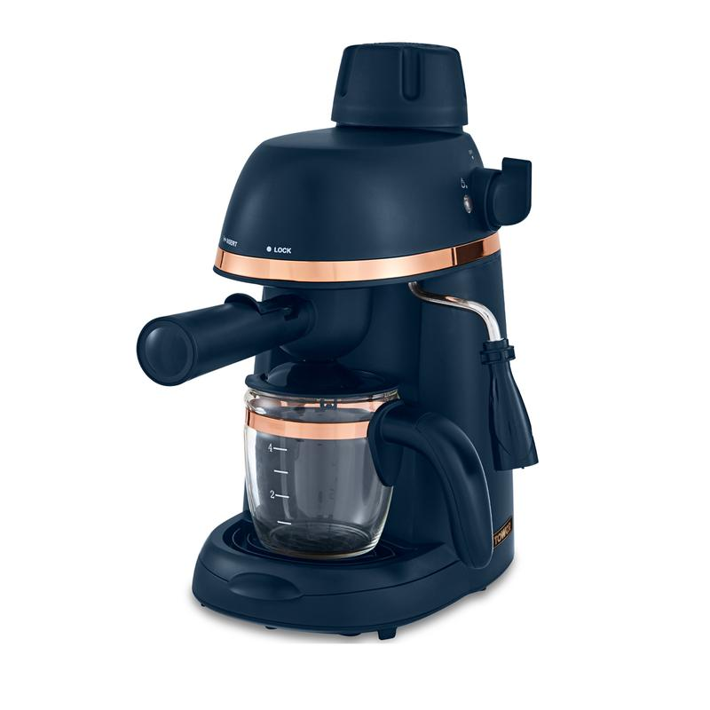 Cavaletto 800W 4 Cup Espresso Machine Midnight Blue and Rose Gold