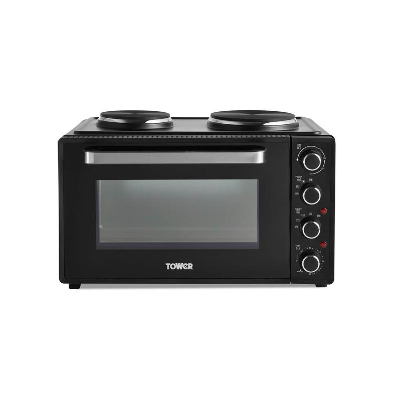 42L Mini Oven with Hot Plates Black with Silver Accents