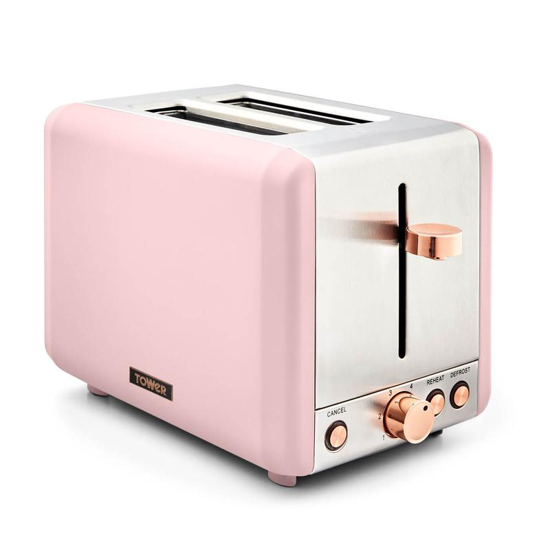 Cavaletto 850W 2 Slice Toaster S/Sl Marshmallow Pink and Rose Gold