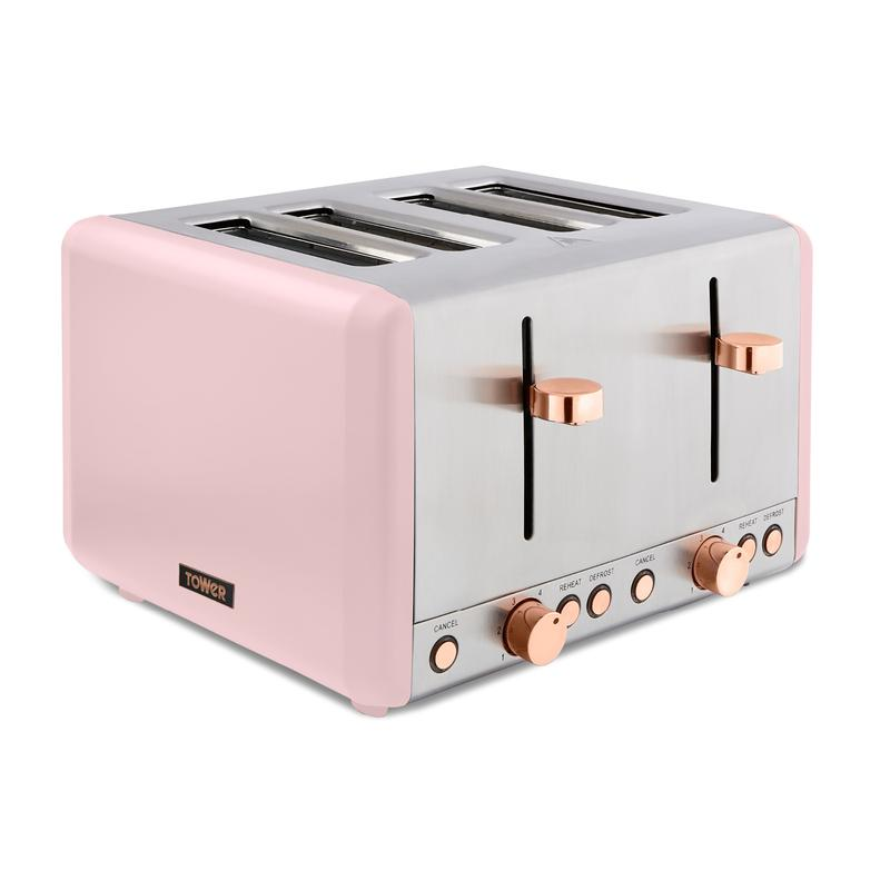 Cavaletto 1800W 4 Slice Toaster S/Sl Marshmallow Pink and Rose Gold