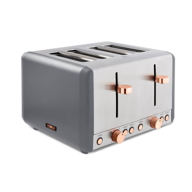 Cavaletto 1800W 4 Slice Toaster S/Sl Grey and Rose Gold