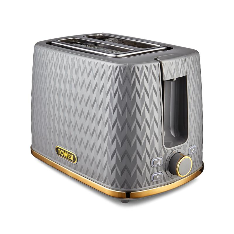 Empire 2 Slice Toaster Grey with Brass Accents