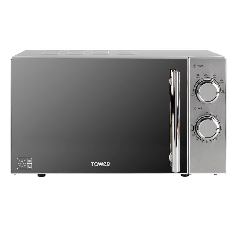 800W 20L Manual Microwave Silver