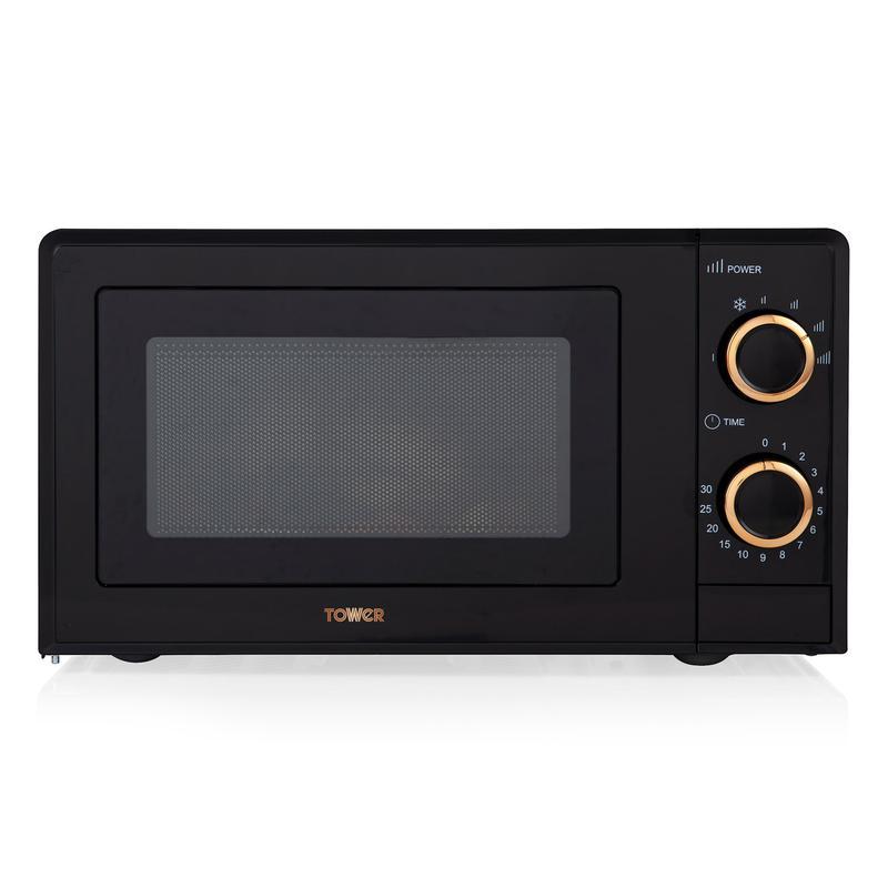 Rose Gold 700W 17L Manual Microwave Black