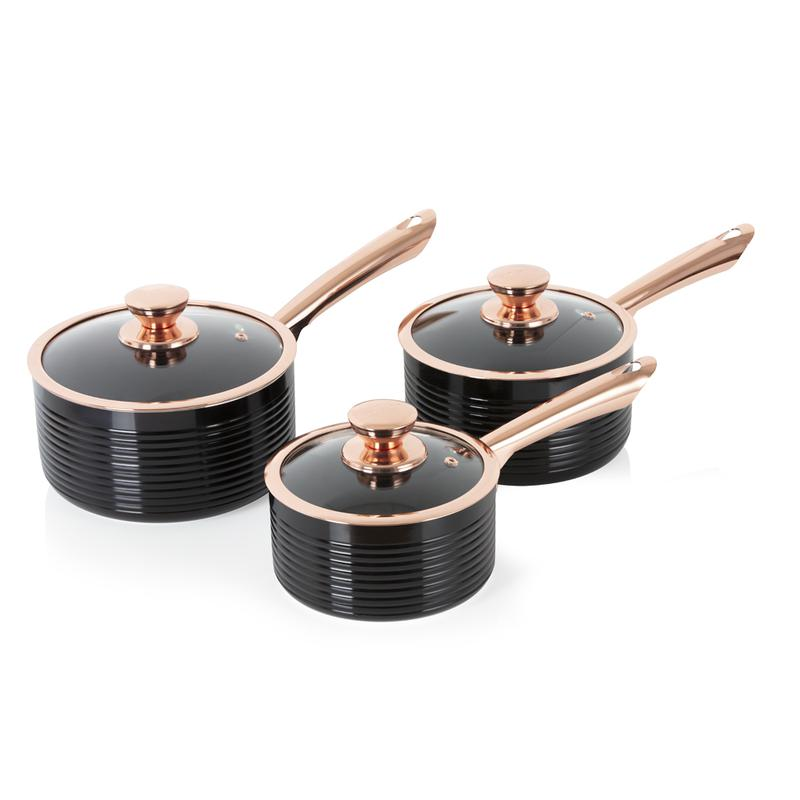 LINEAR Rose Gold 3 Piece Saucepans
