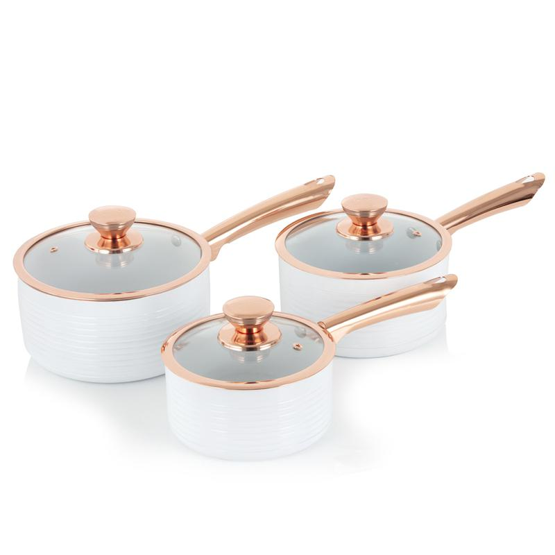 LINEAR Rose Gold 3 Piece Saucepans White