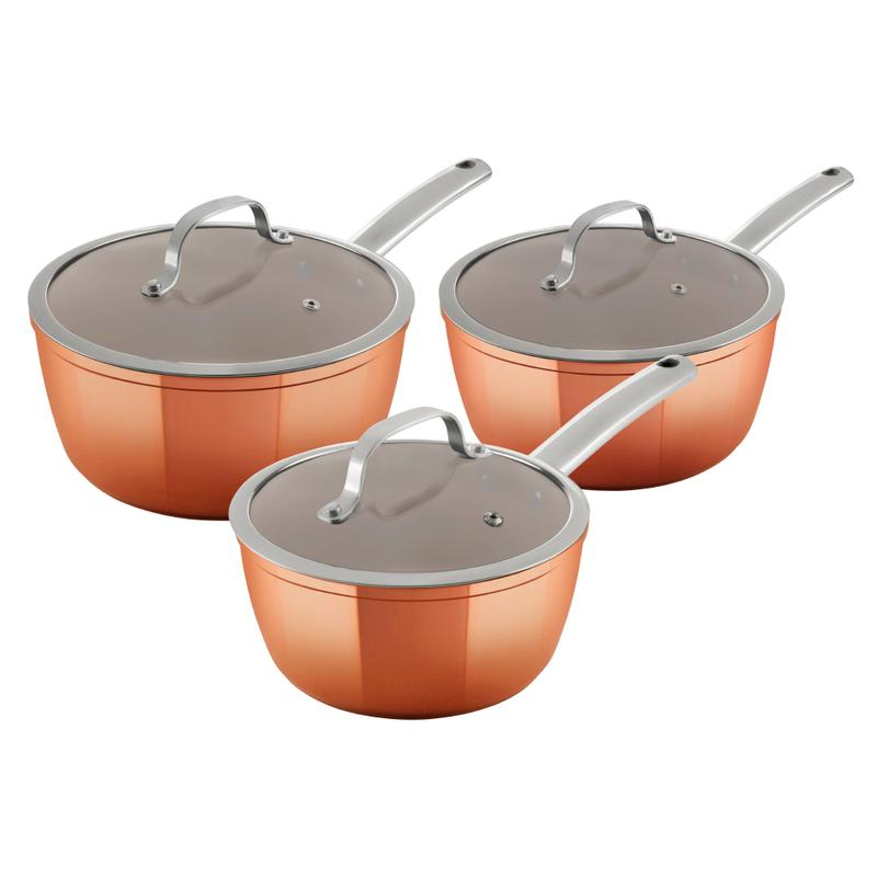 Copper Forged 3 Piece Saucepans