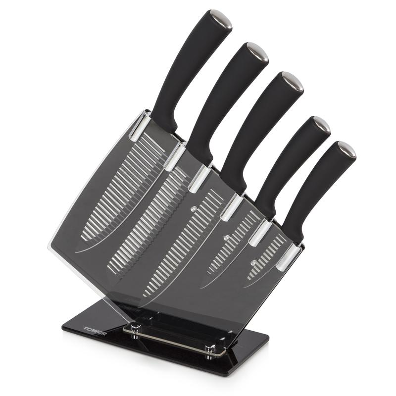 5 Piece Grooved Knife Set w/Stand Black