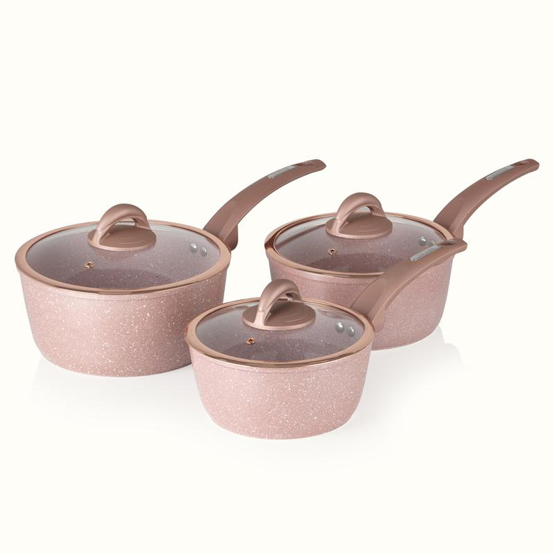 Cerastone Forged 3 Piece Saucepans Rose Pink