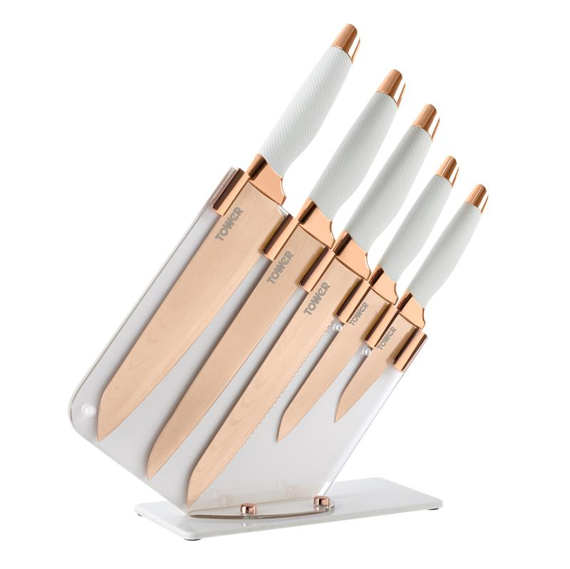 Rose Gold 5 Piece Knife Set White