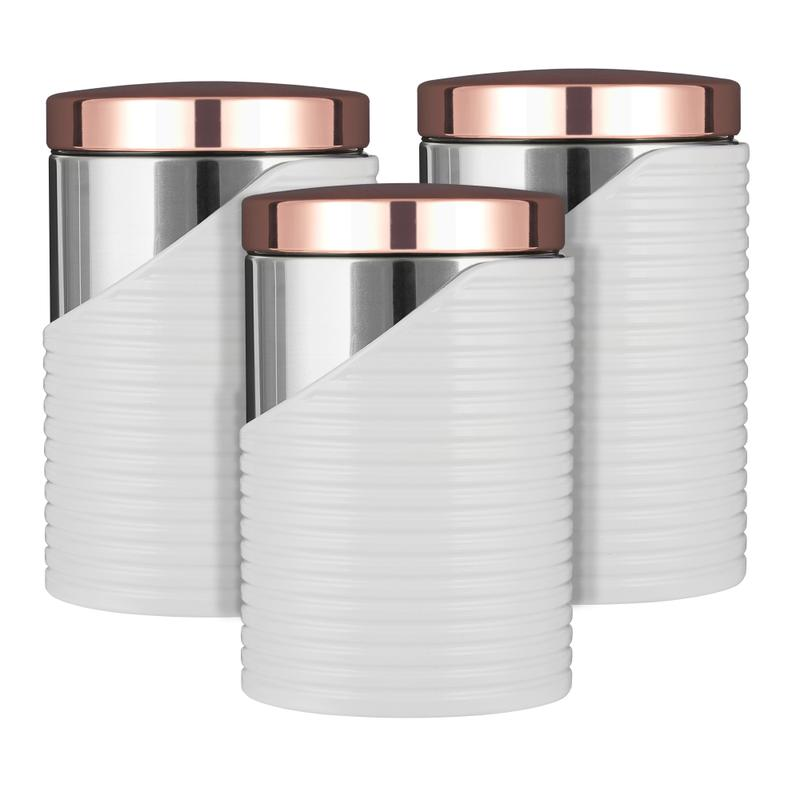 LINEAR Rose Gold Set of 3 Canister White