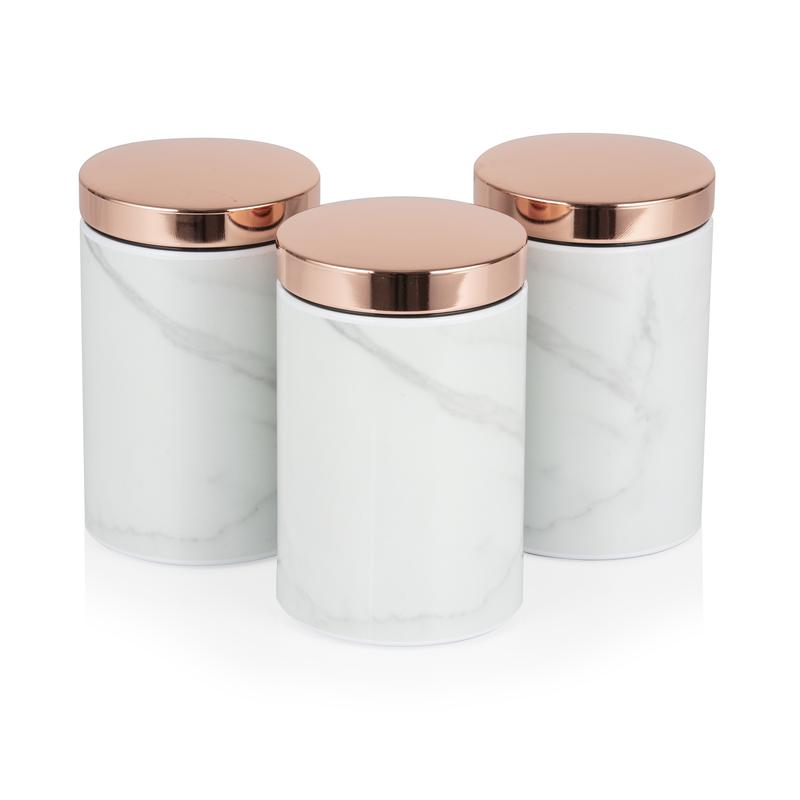 Marble Rose Gold Set of 3 Canisters