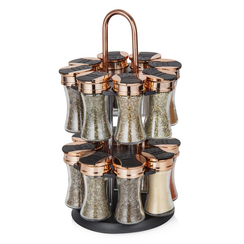Rose Gold Rotating Spice Rack 16 Jars