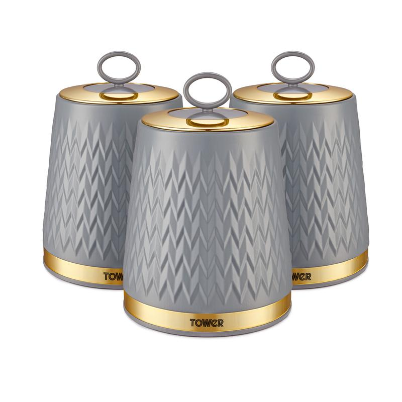 Empire Set of 3 Canisters Grey