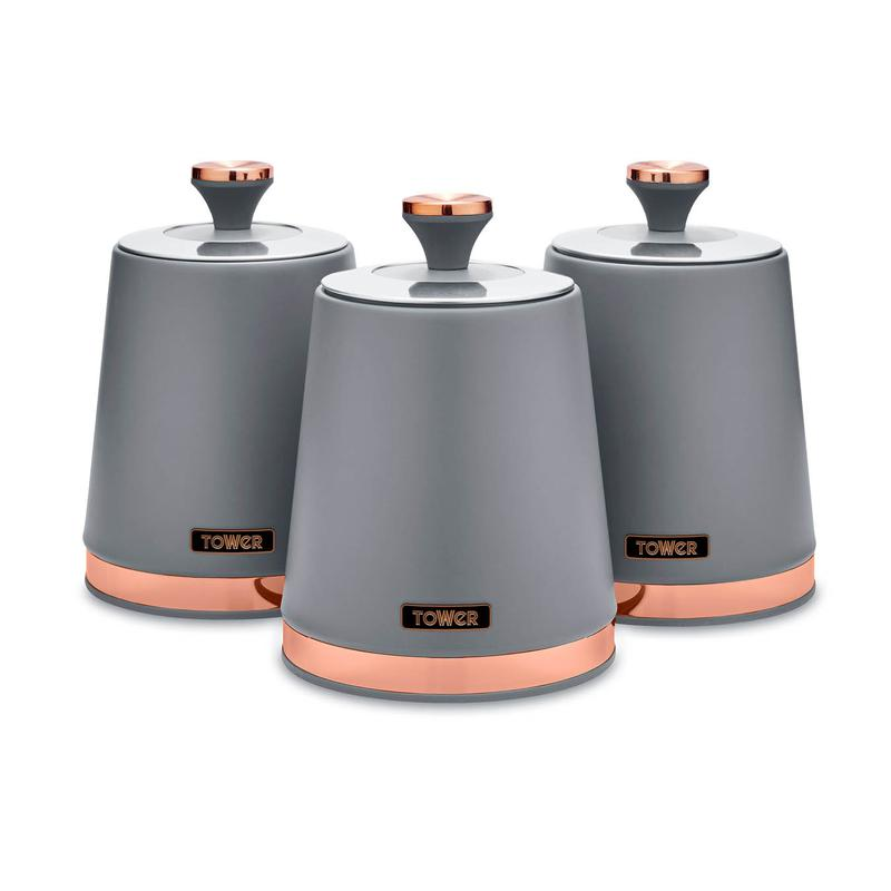 Cavaletto Set of 3 Canisters Grey