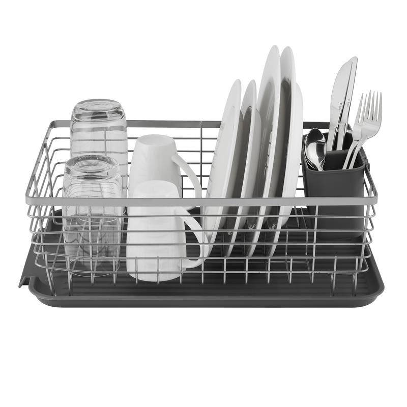 Compact Dish Rack w/ Cutlery Holder Grey