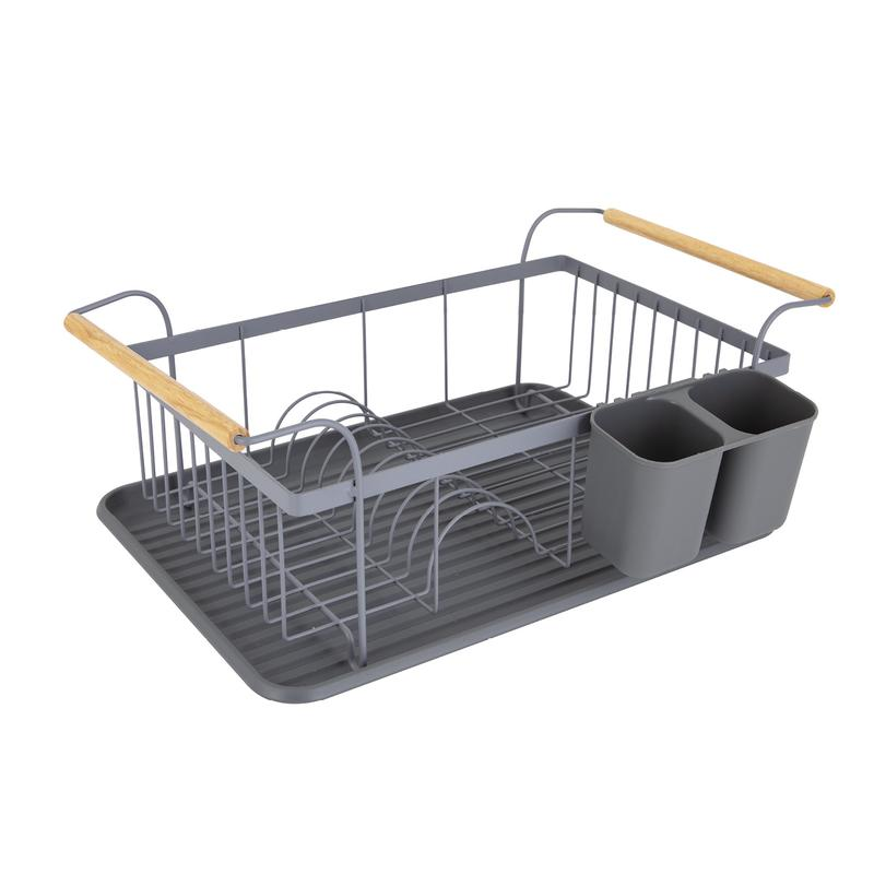Scandi Dish Rack with Wooden Handles