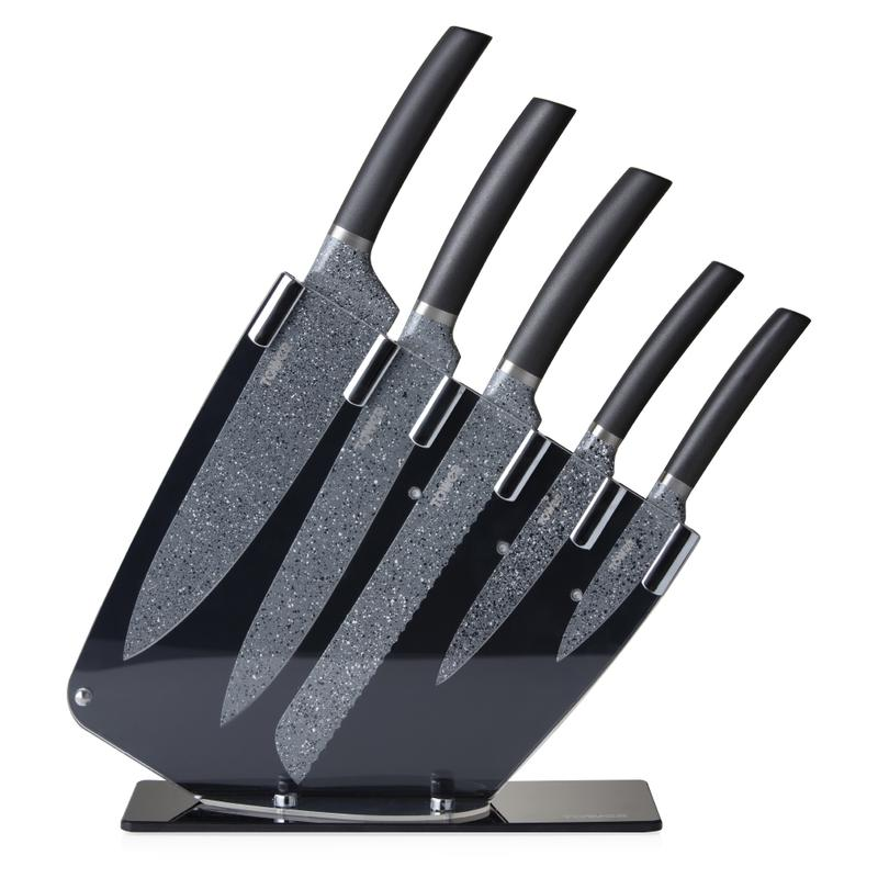 Cerastone 5 Piece Knife Set w/Stand Graphite