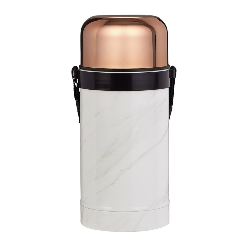 Marble Rose Gold 1000ml Vacuum Food Flask