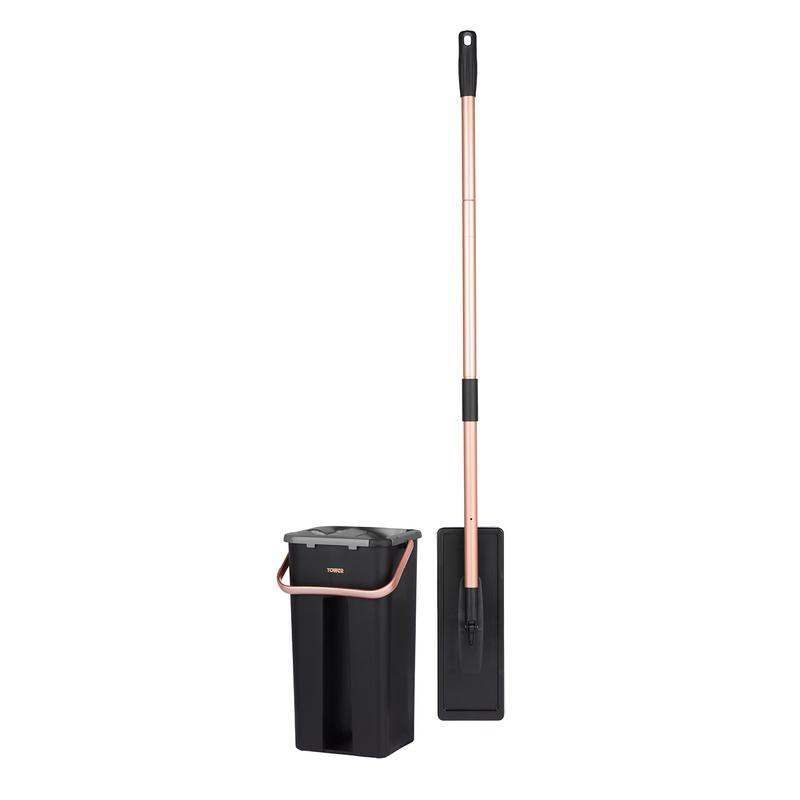 Tower Wet  Dry Flat Mop and Bucket Black and Blush Gold