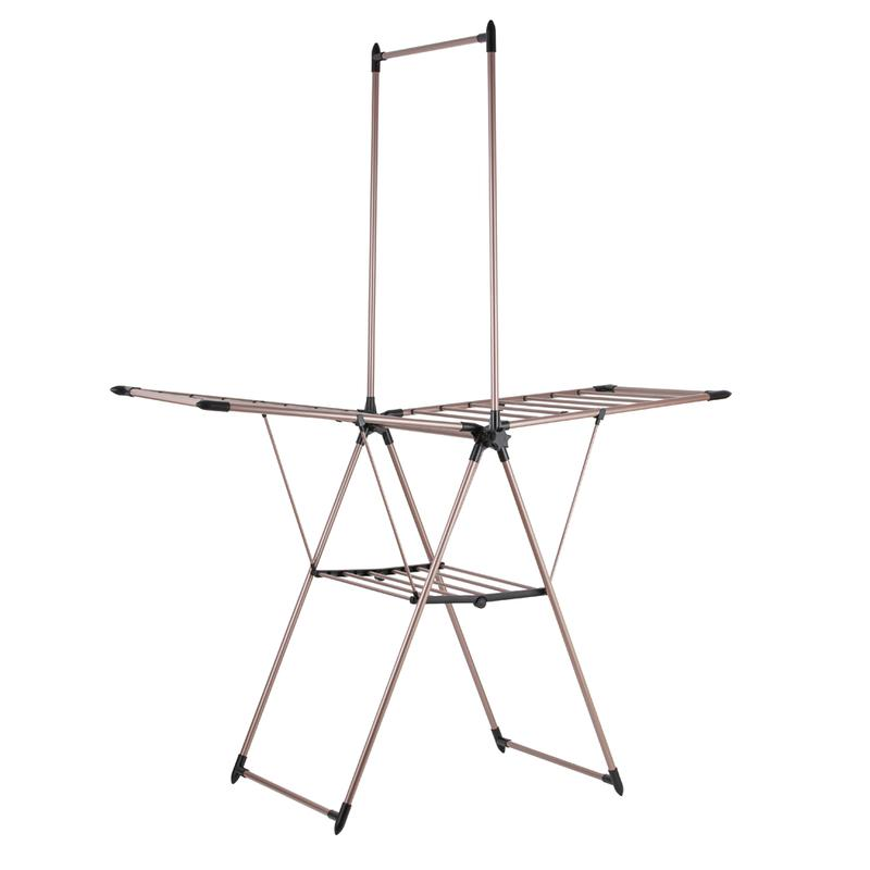 Rose Gold Airer with Garment Rail Black