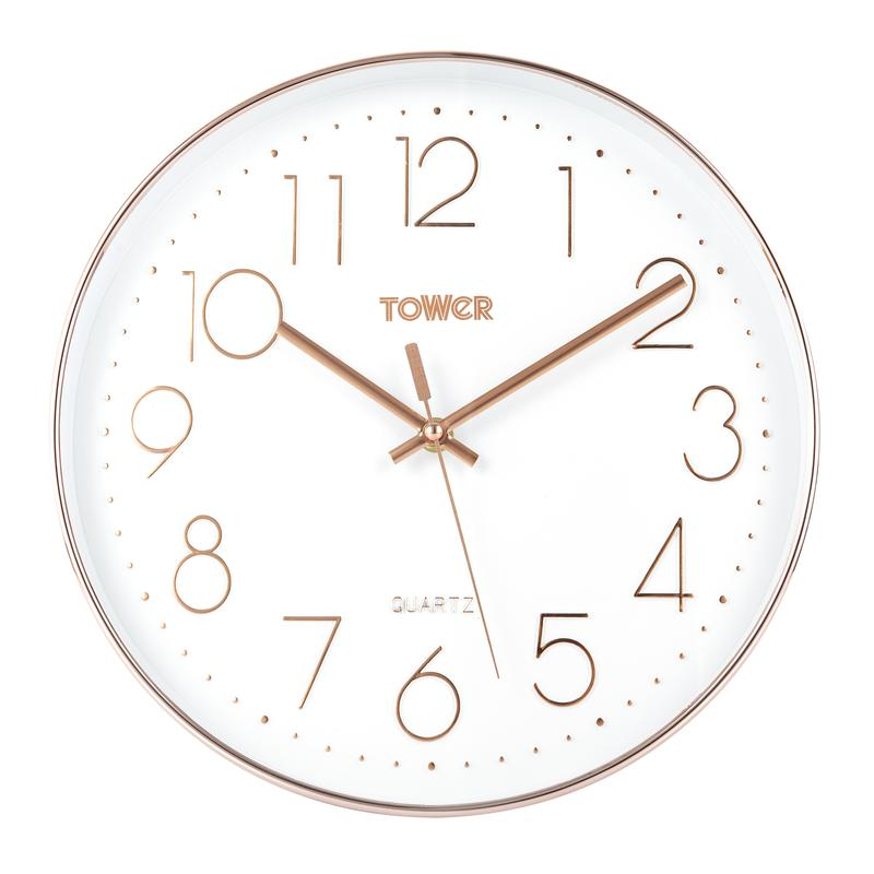Rose Gold 30cm Wall Clock White